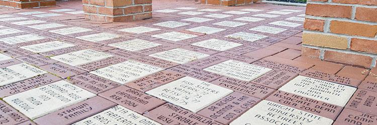 photo of brick pavers under alumni tower