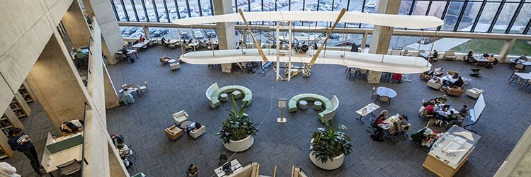 photo of the wright b flyer in dunbar library