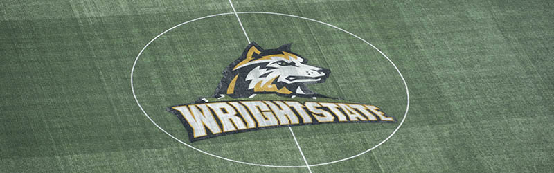 photo of the athletics logo on the soccer field