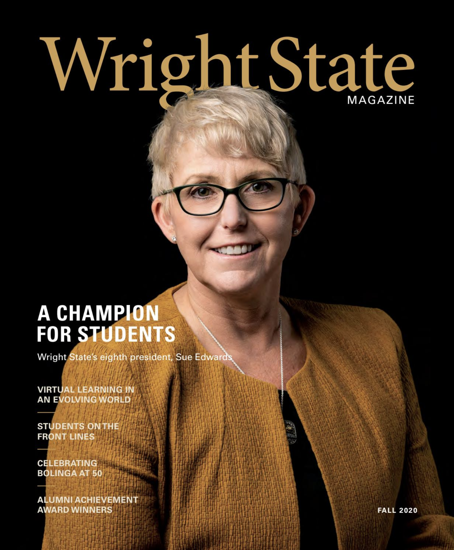 Cover of fall 2020 wright state magazine